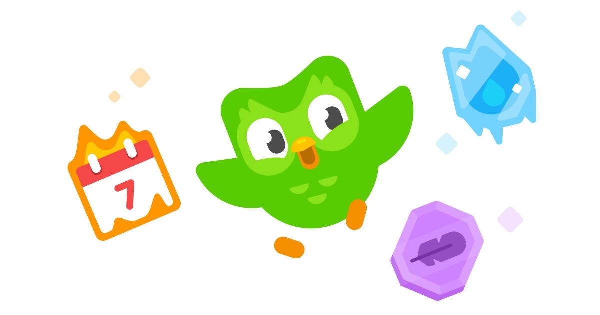 Duolingo mascot and icons.