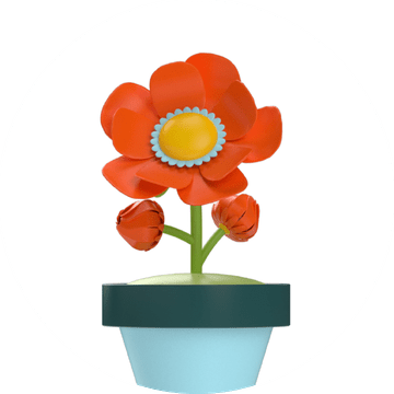Illustration of a red flower in a flowerpot