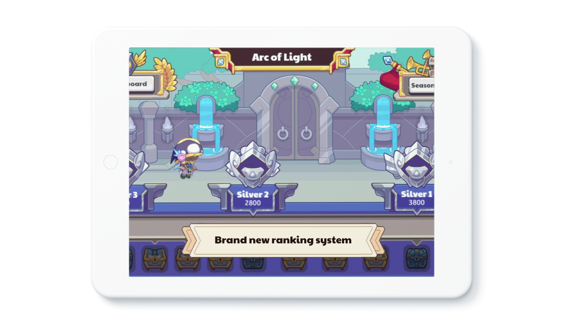 """Tablet device showing in-game footage of the new Arena, with a banner that reads: """"Brand new ranking system."""""""