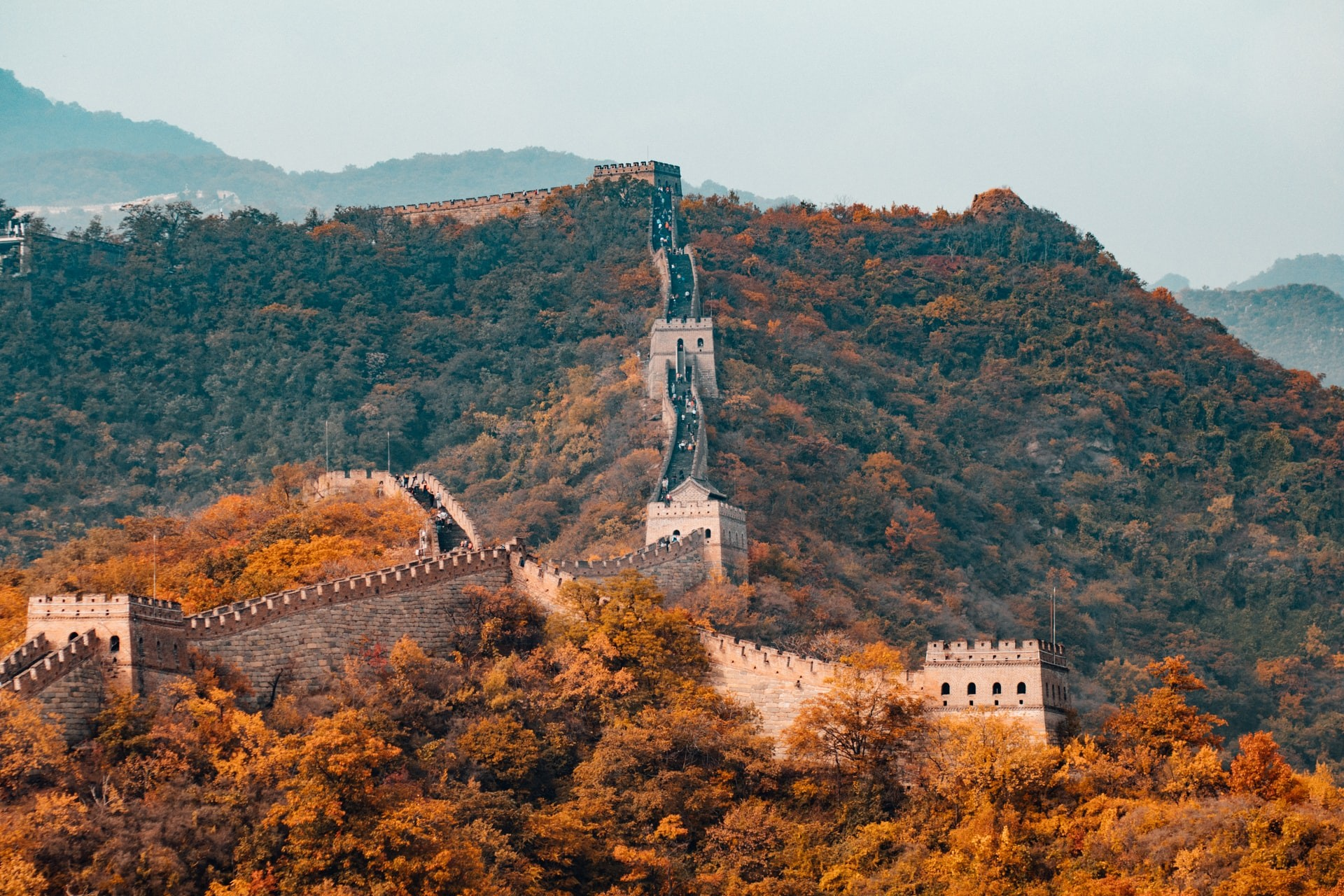 The Great Wall of China in the fall.