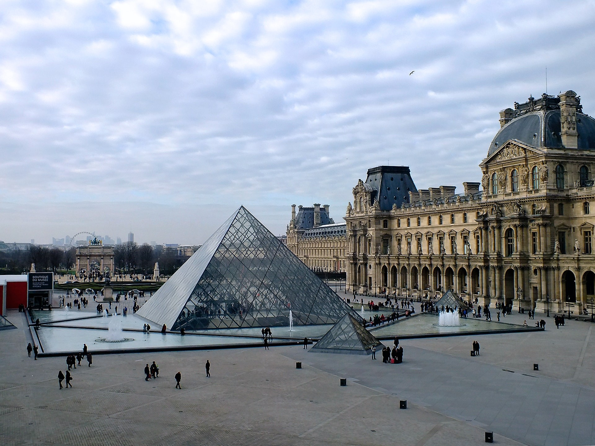 The outside of the Louvre museum in Paris, France.