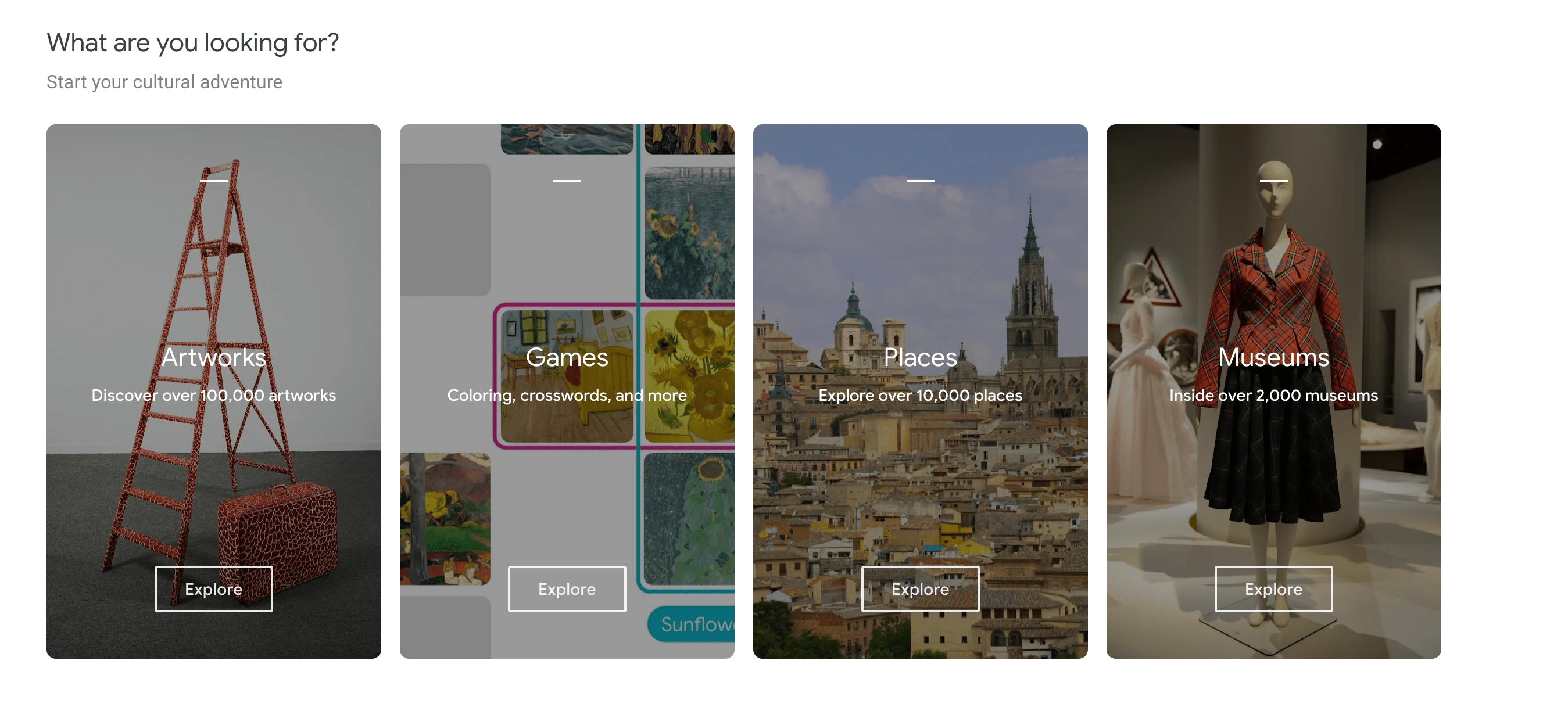 On-screen image from the Google Arts & Culture homepage.