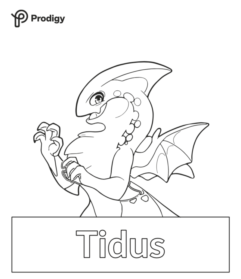 Coloring sheet of Prodigy's Tidus Epic.