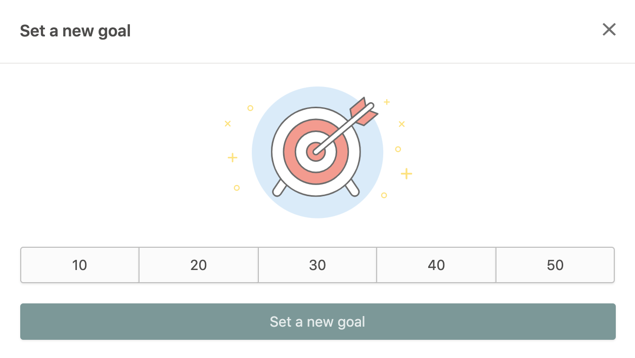 """In-app image of """"Set a new goal"""" module in a Prodigy parent account"""