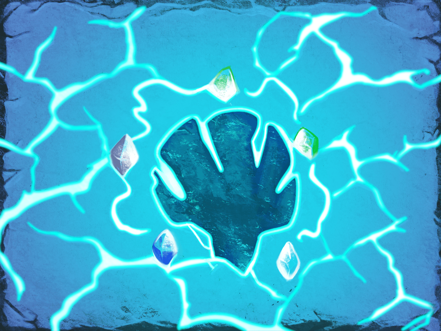 An etching of The Ancient's head surrounded by colorful Runes, on a blue background with white, glowing cracks in it.
