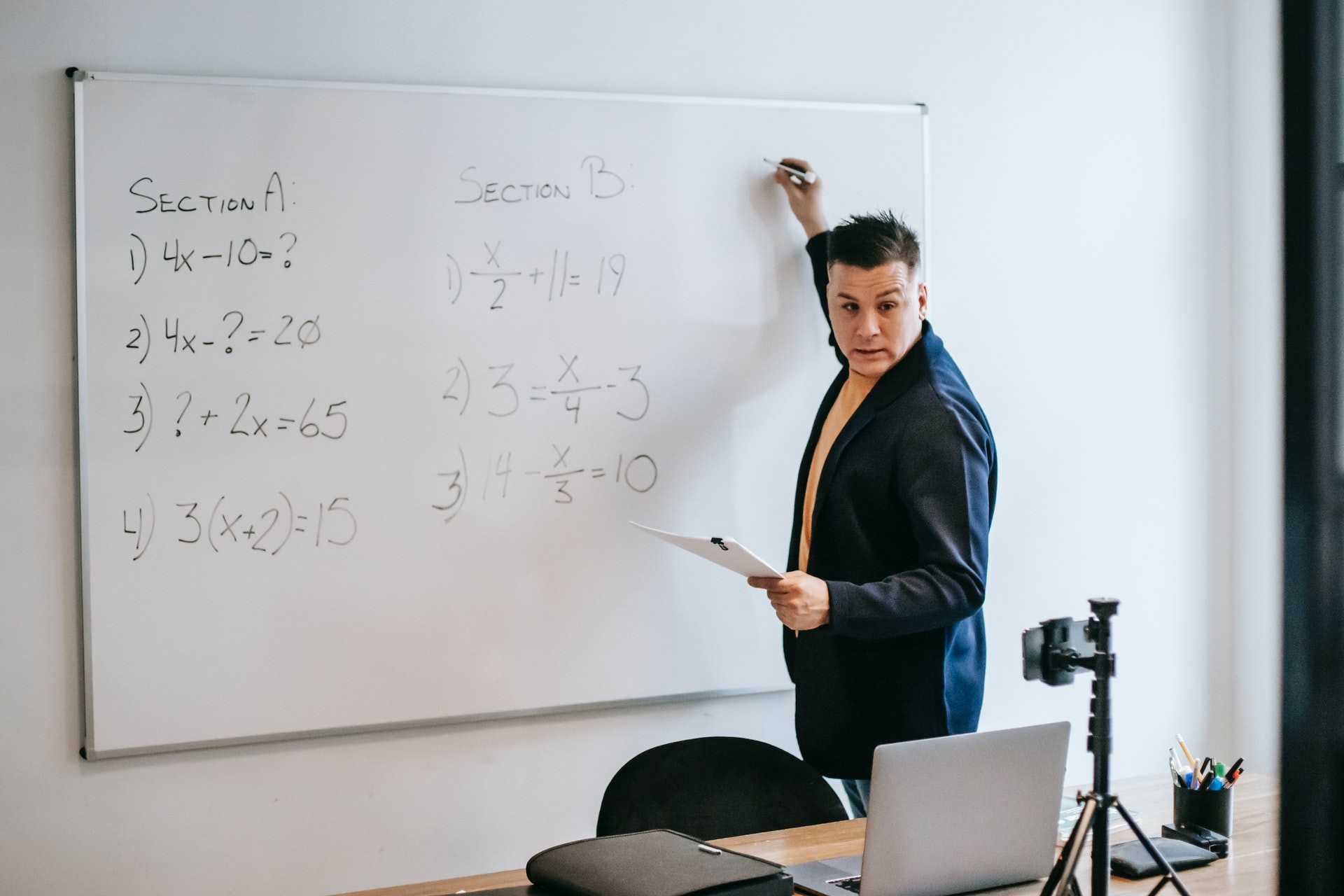 Teacher uses remote learning tools to teach math