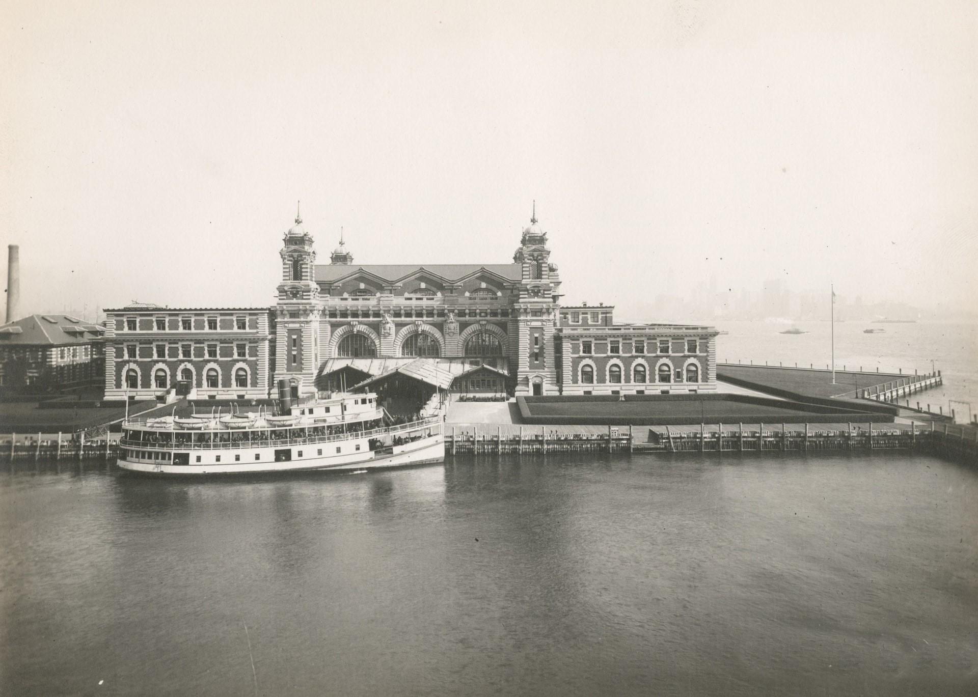 Historical photograph of Ellis Island.