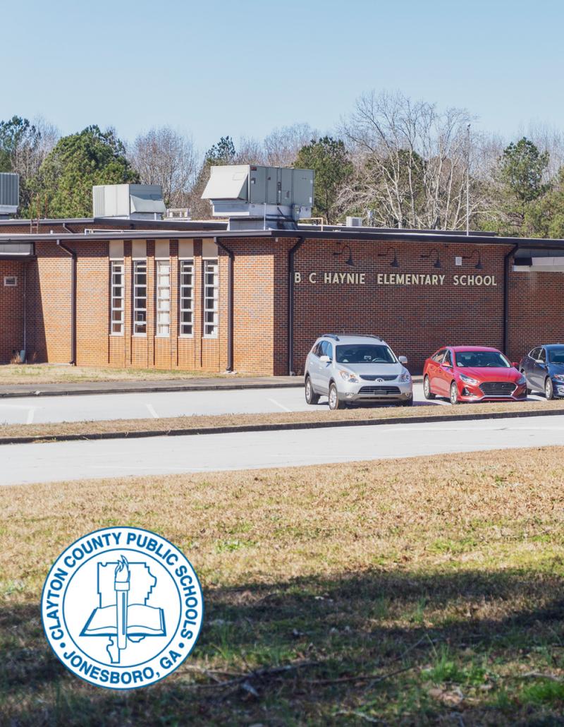A picture of the outside of B C Haynie Elementary School in Clayton County, Georgia with the school logo.