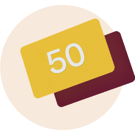 Yellow gift card with the number 50 on it