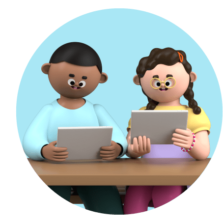 3D animated images of two students sitting at a desk using tablets
