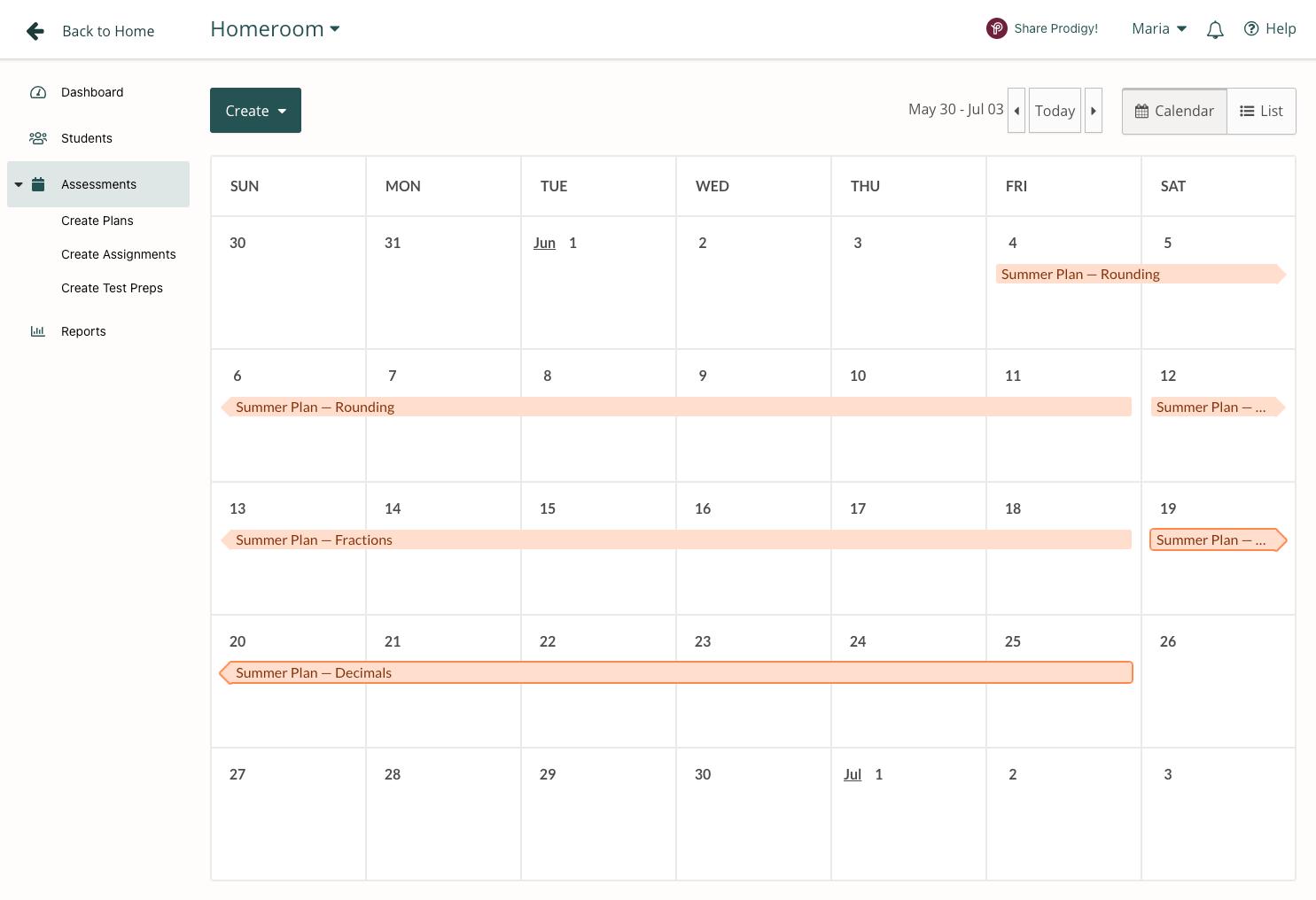 Summer calendar of Plans in Prodigy's teacher dashboard.