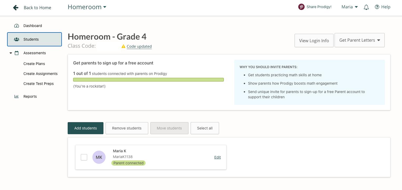 Screenshot of the students tab in the Prodigy teacher dashboard.