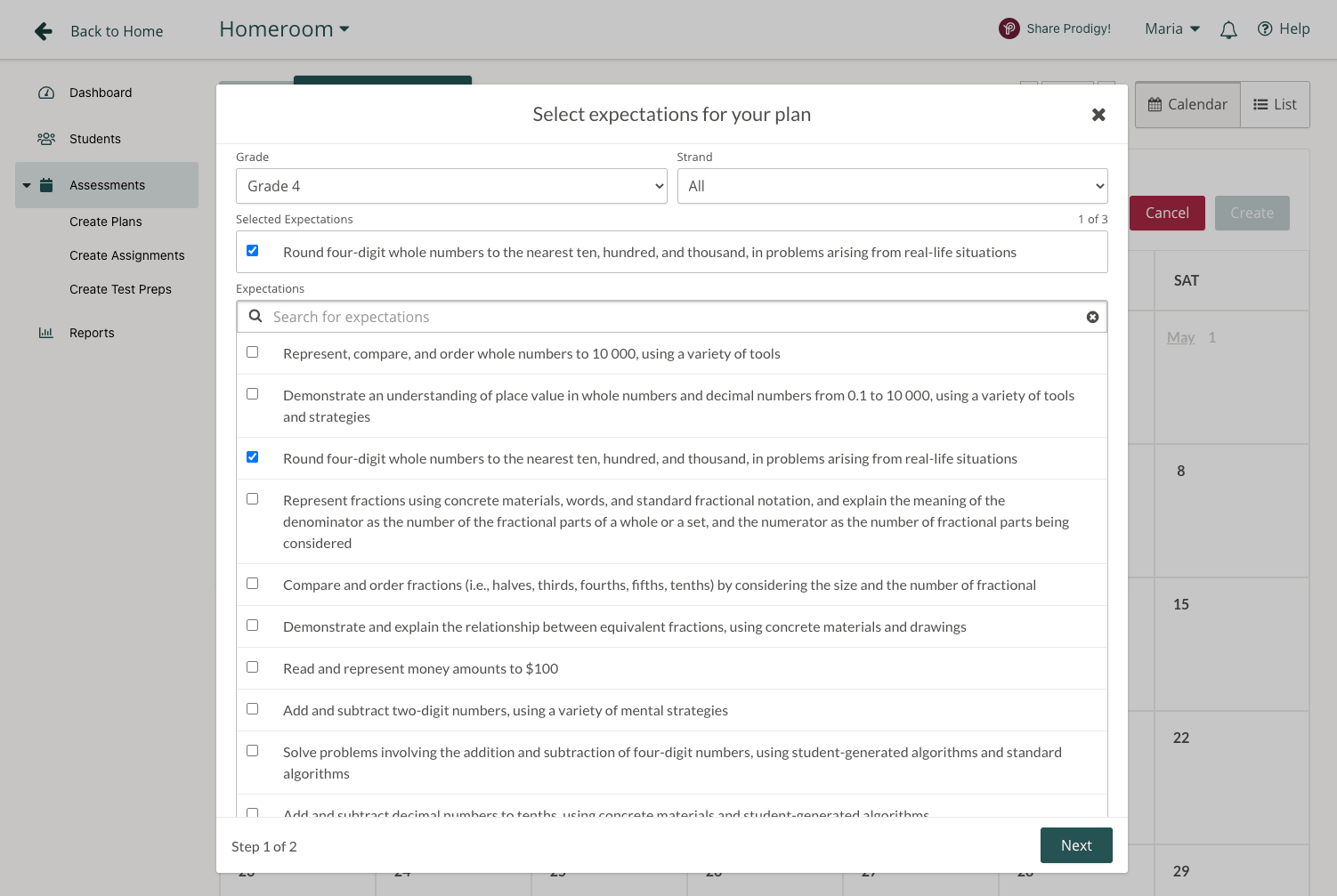 Screenshot of standard selection in Prodigy's teacher dashboard.