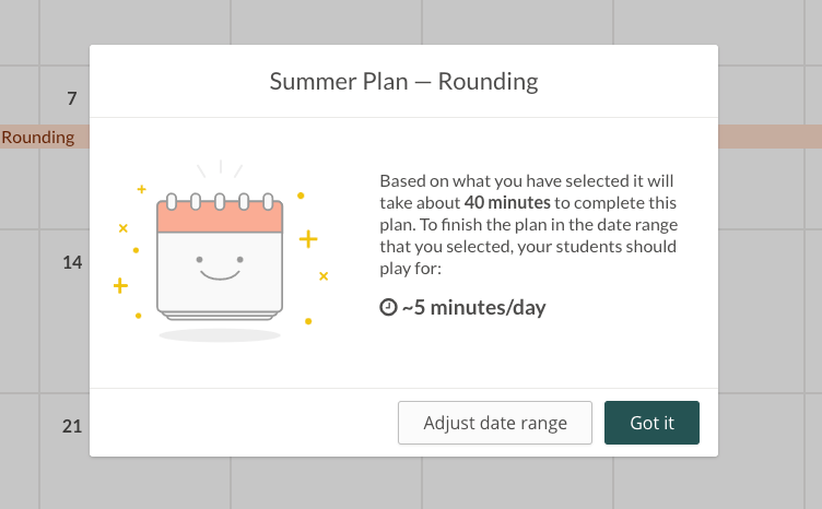 Screenshot of estimated playing time before students complete a Prodigy Plan.