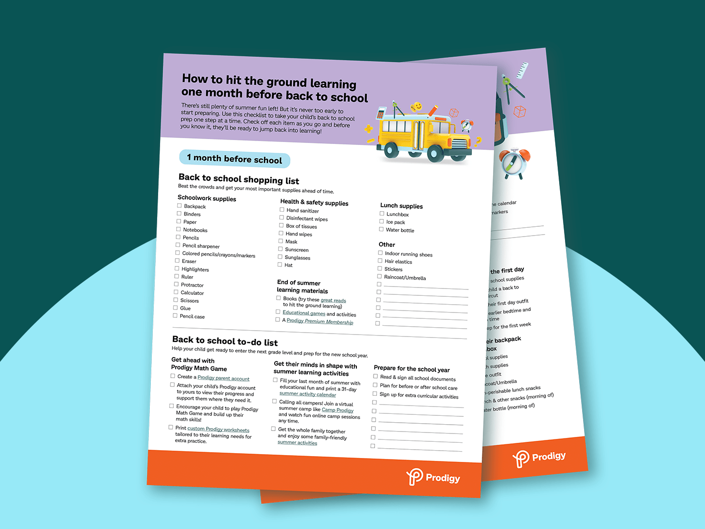 Preview of the downloadable back to school checklist for parents