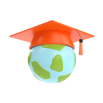 A globe with a red mortar-board hat