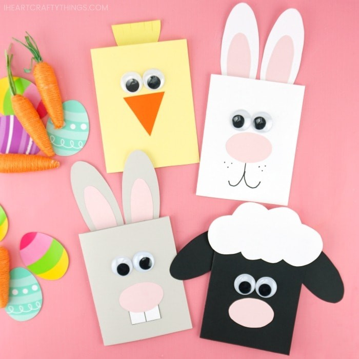 Decorated Easter cards made to look like a chick, two bunnies and a sheep.