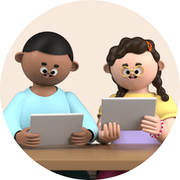 Illustration of coworkers working together on tablets