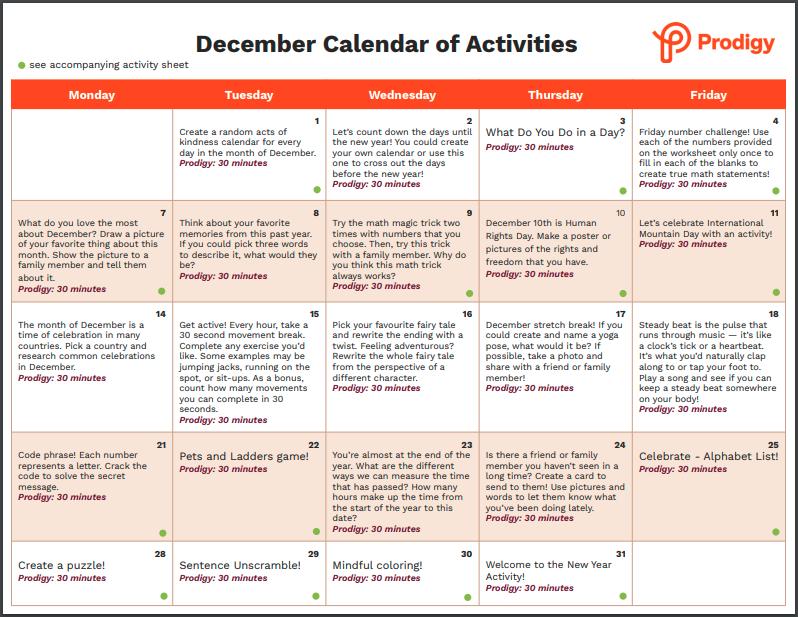 A screenshot of the December calendar of activities.