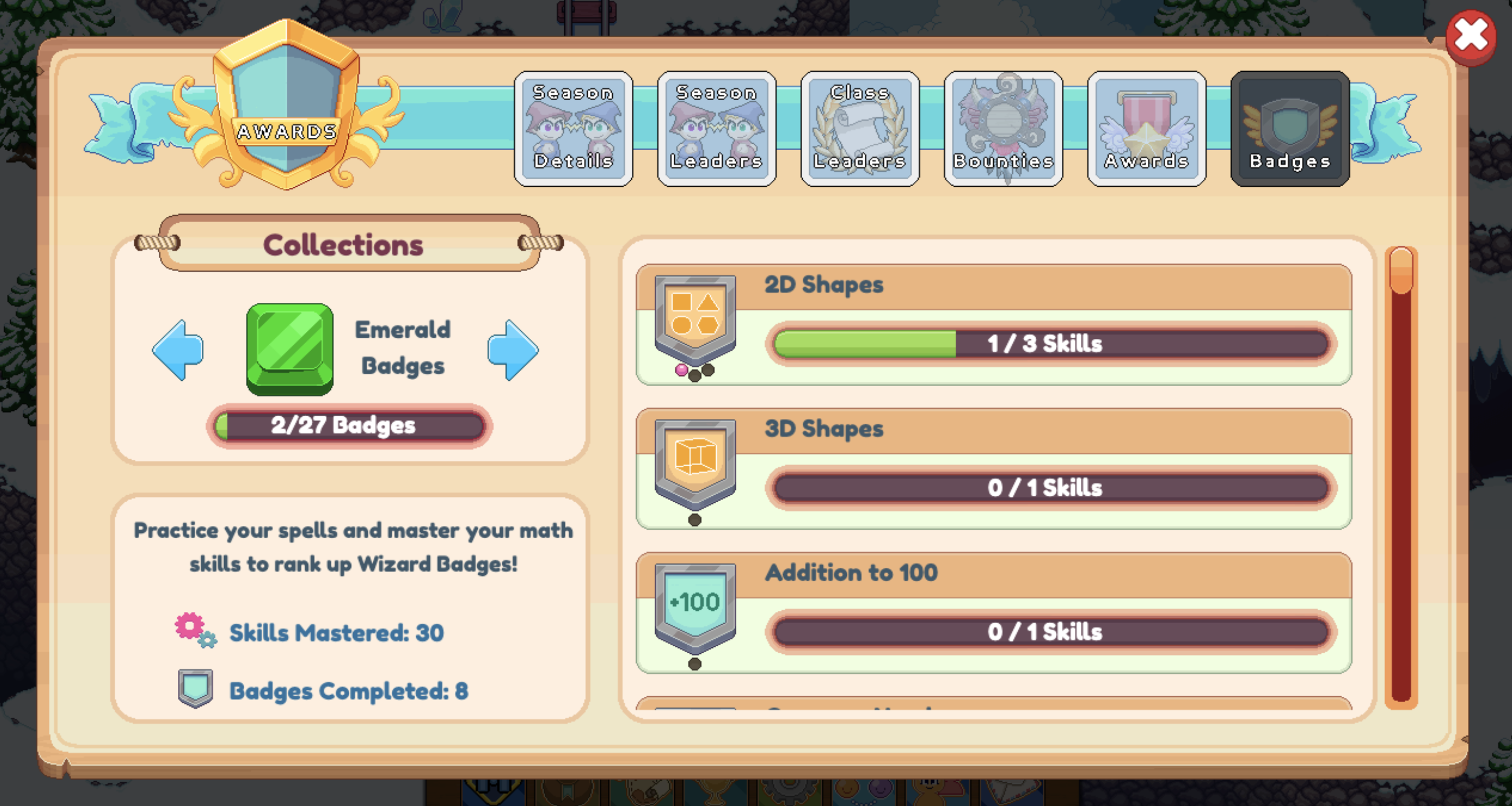Screenshot of in-game badge collection for Prodigy Math Game