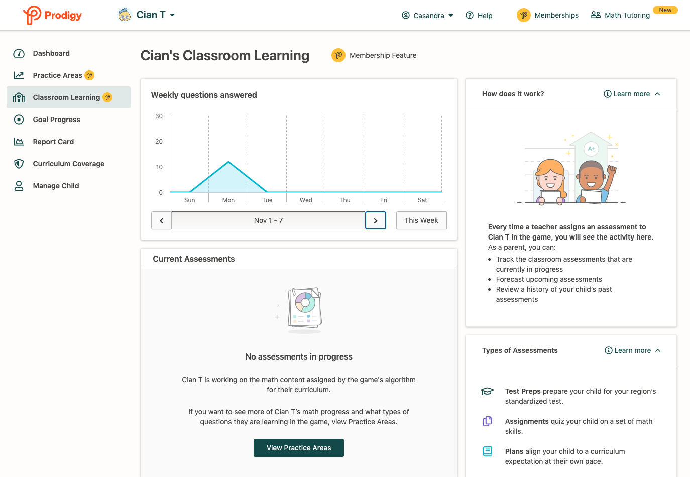 Screenshot of Classroom Learning feature on a Prodigy parent account