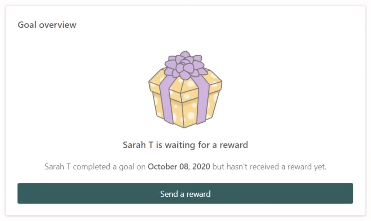 A screenshot of the Prodigy parent account goal overview section saying their child is waiting for a reward for completing the goal.