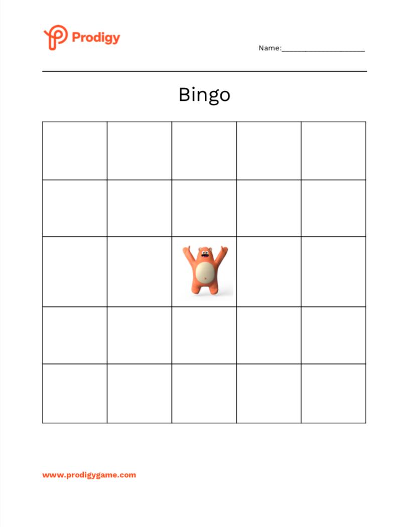 Prodigy bingo card