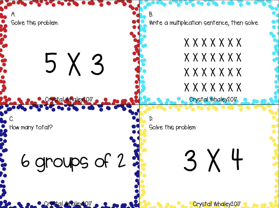 An example of multiplication scoot question cards from Teachers Pay Teachers.