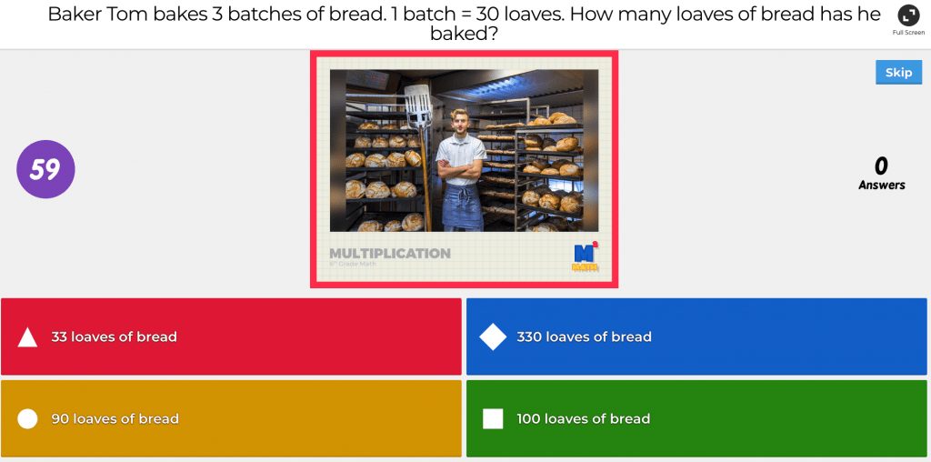 An example question from Kahoot's platform.