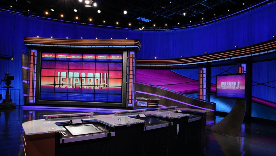 An image of the Jeopardy game show studio.