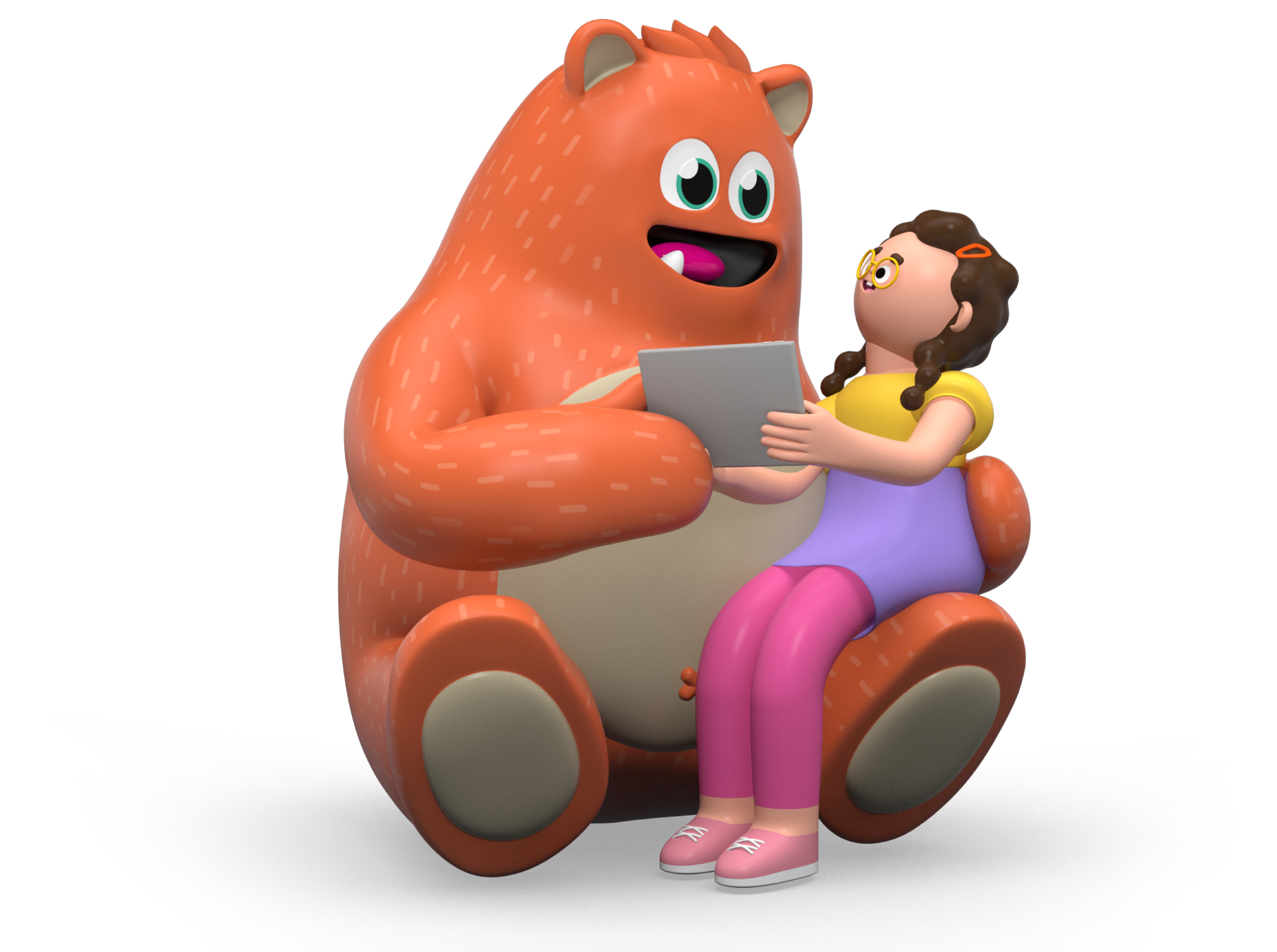 Illustration of Prodigy's mascot, Ed, helping a young girl with her homework.