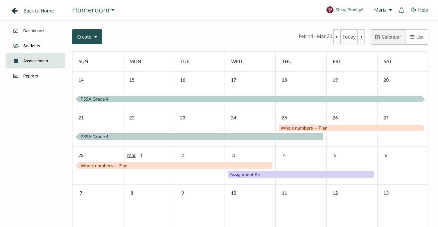 Assessments screen with featured Assessments in calendar within a Prodigy teacher account
