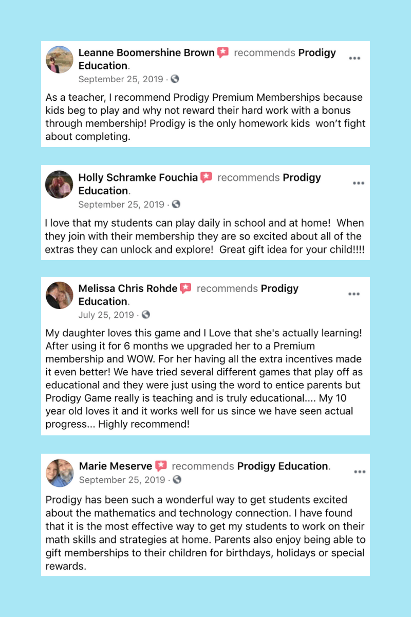 Four Facebook testimonials from people who use Prodigy and recommend its Premium Membership.