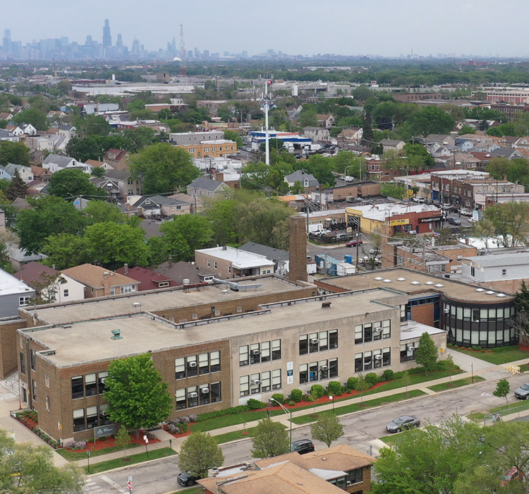 An aerial shot of the outside of West Belden Elementary School in Chicago, Illinois.