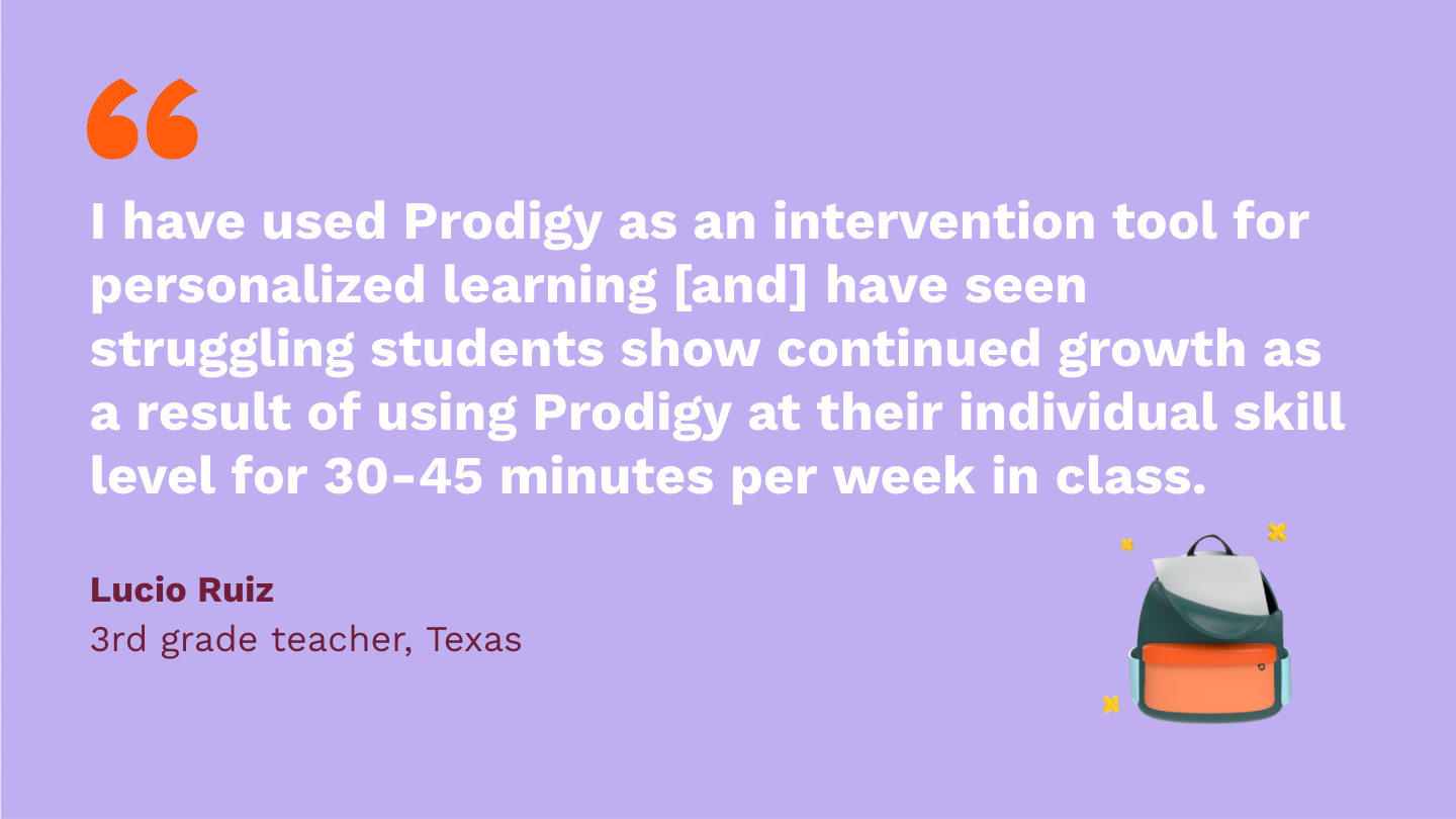 I have used Prodigy as an intervention tool for personalized learning [and] have seen struggling students show continued growth as a result of using Prodigy at their individual skill level for 30-45 minutes per week in class.Lucio Ruiz,third Grade Teacher, Texas.