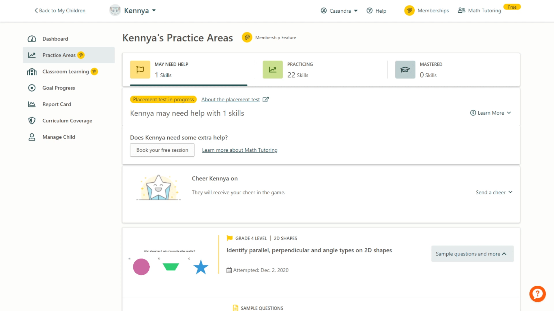 Image of a Prodigy parent dashboard, showing the Practice Areas Premium feature