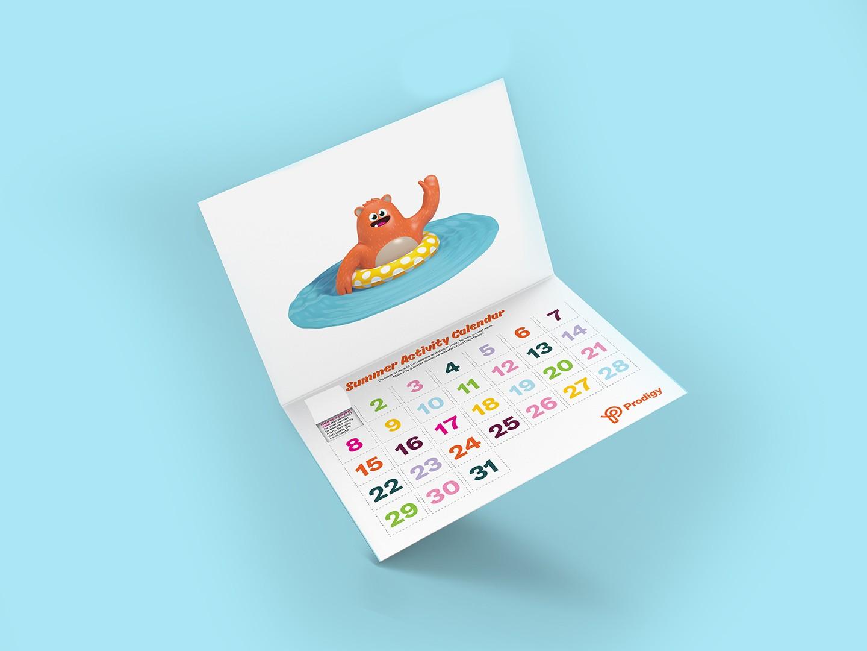 Illustration of Prodigy's summer activity calendar.