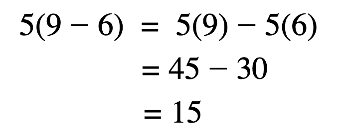 Distributive property of multiplication over subtraction