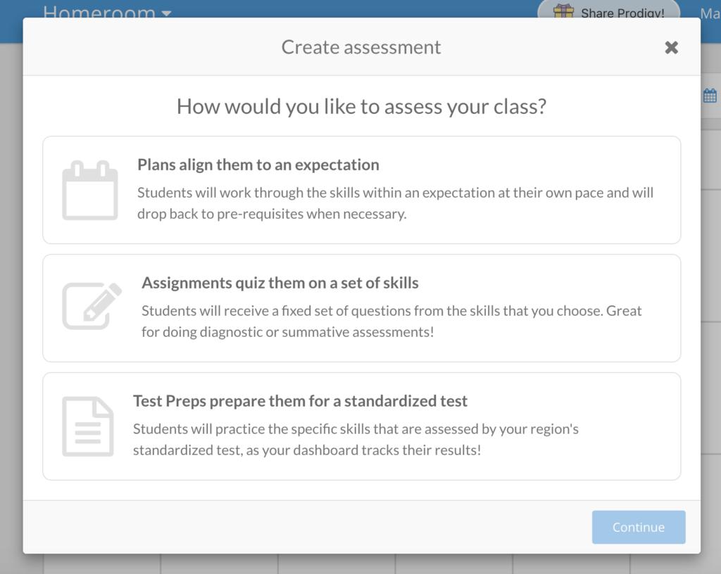 Create assessment pop-up for the teacher dashboard