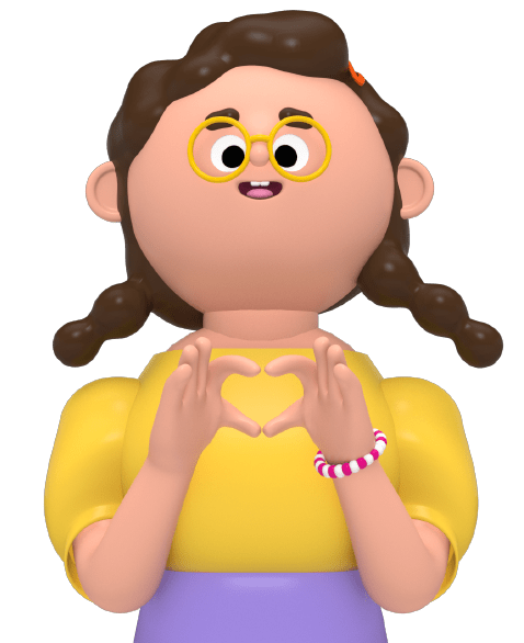 An illustration of a character making a heart with her fingers