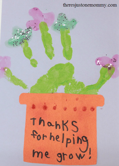 """Homemade card with a plant painted on it that reads """"thanks for helping me grow!"""""""