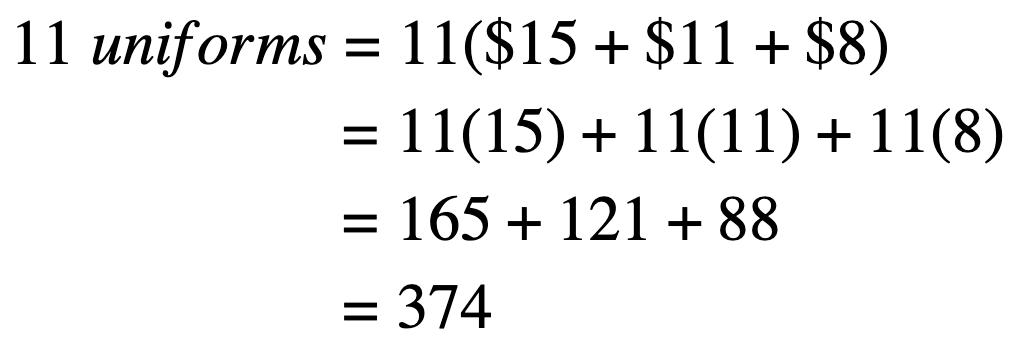 How much will it cost in total if the team has 11 players? Write an expression and simplify.