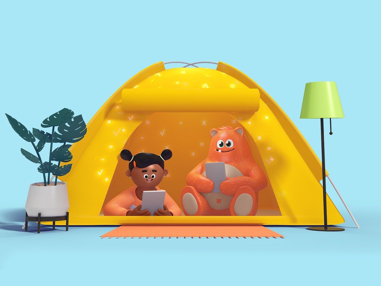 Illustration of Prodigy's mascot, Ed and a child sitting in a tent together and holding tablet devices.