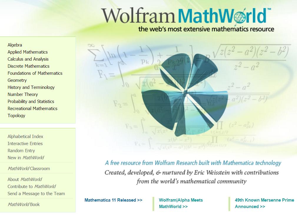 The math website for kids called Wolfram MathWorld