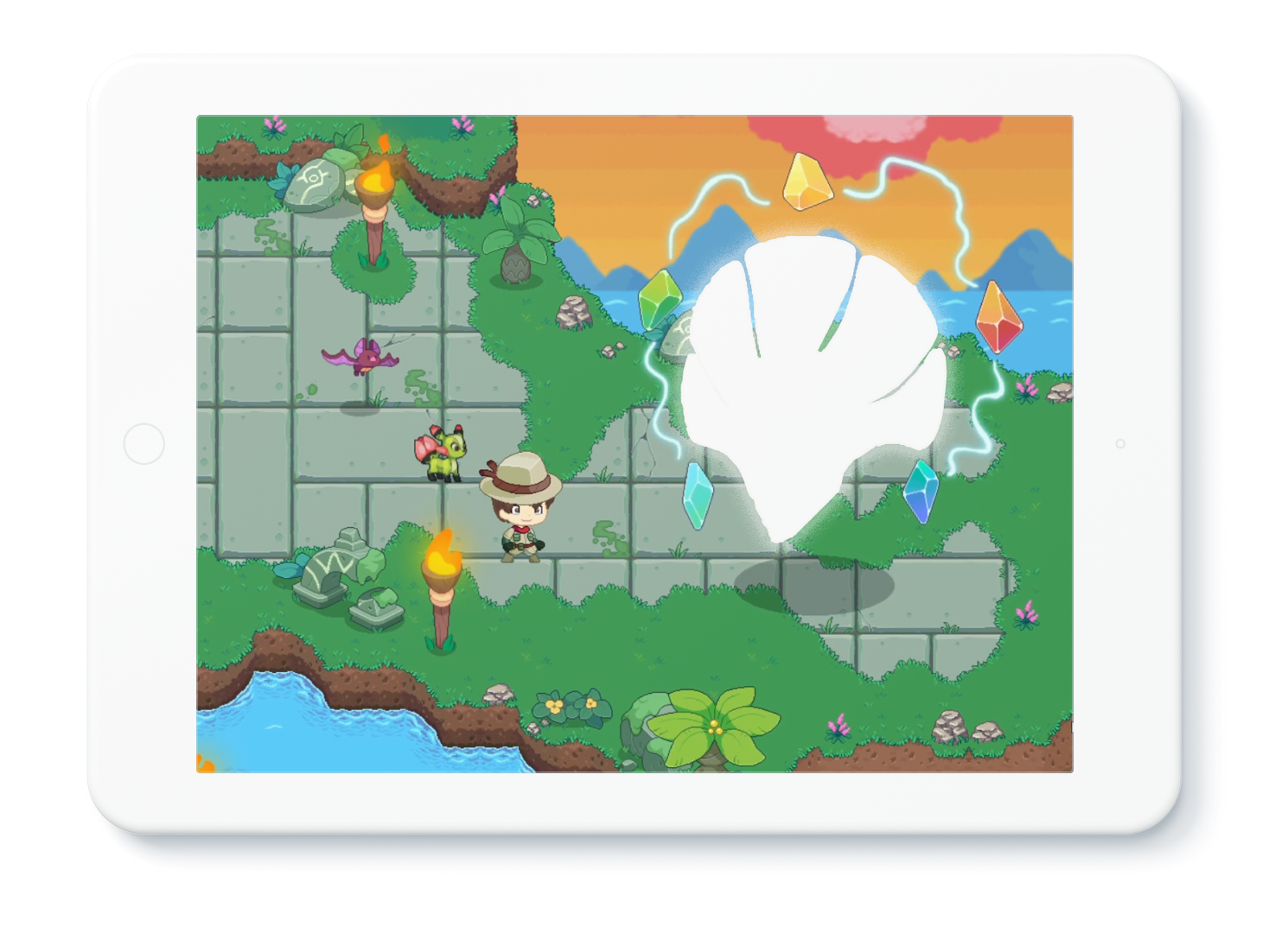 Illustration of tablet device with the Harmony Island Ancient battle featured on the screen.