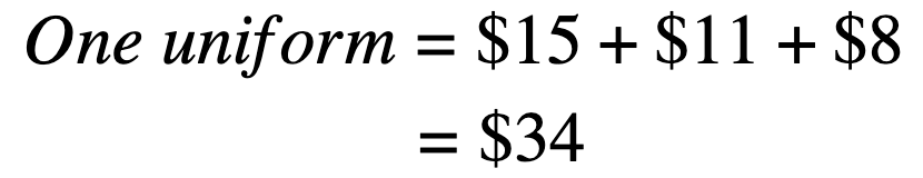 uniform cost per team mate? Write an expression and simplify.