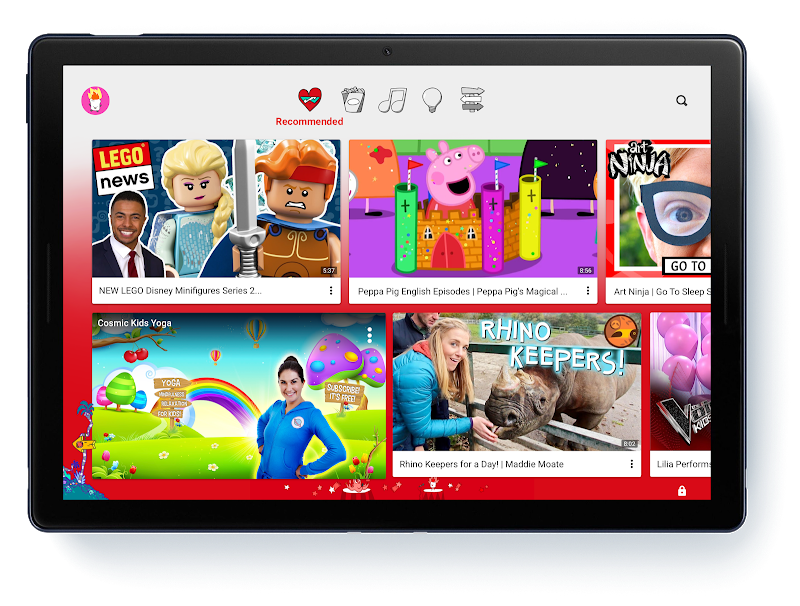 Image of tablet with YouTube Kids videos on the screen