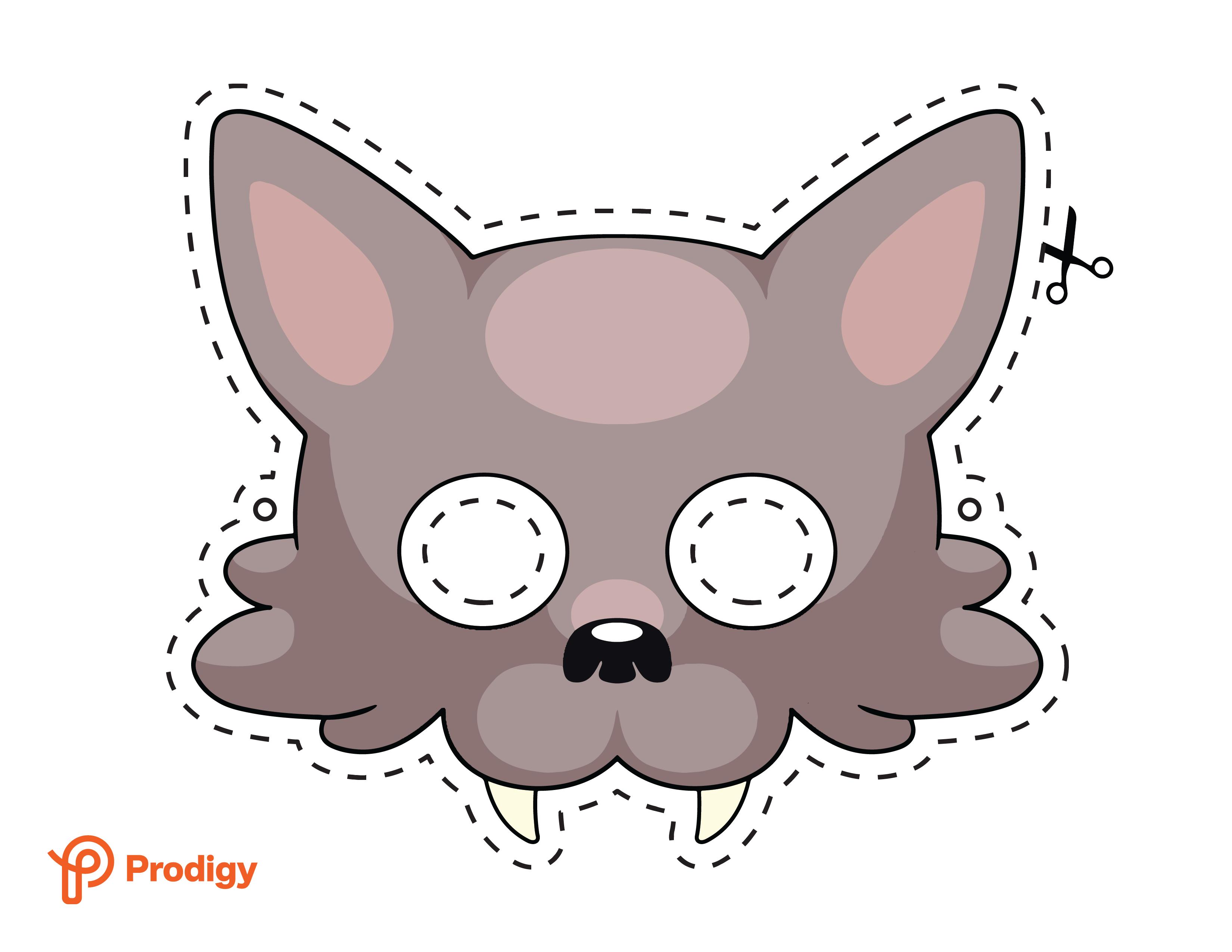 Printable wolf mask - color