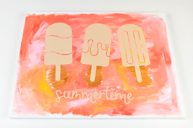 """A """"hot mess canvas"""" painting with popsicles on it from Hey, Let's Make Stuff"""