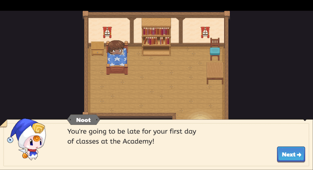 """In-game image of Noot, a character in Prodigy Math Game, telling the player: """"You're going to be late for your first day of classes at the Academy!"""""""